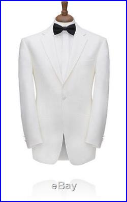 1 Button, White Dinner Jacket, Notch Lapel by Torre