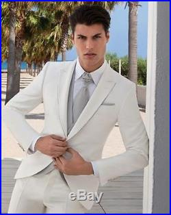 2017 New White Groom Tuxedos Groomsman/Men Suits Fit Best Man Suit Formal Gown