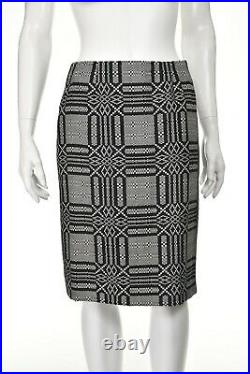 BILL BLASS 2-Piece Taupe Houndstooth Jacket with Black & White Skirt SIZE 8