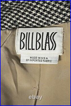BILL BLASS Vintage 2-Piece Taupe Houndstooth Jacket with Black & White Skirt SZ 8