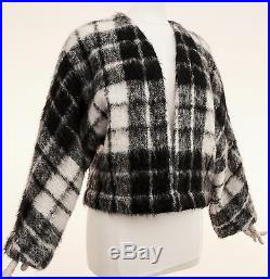 Bill Blass Black and White Plaid Mohair Wool Jacket Size 8 1970s Vintage