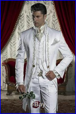 Embroidery Groom Tuxedo Men's White Satin Suits Formal Wedding Prom Suits Custom