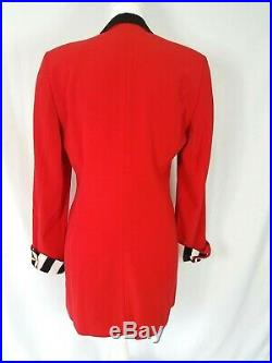 Escada Couture Wool Long Jacket Red with Black and White Silk Trim SZ 36 US 6