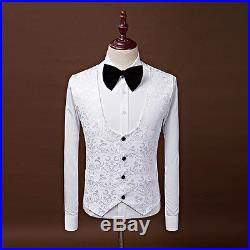 Fashion White Floral Mens Suits Groom Wedding Tuxedos Slim Groomsman Prom Suits