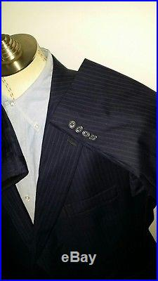 Gold Trumpeter S. Hart Marx Blue Pin Striped Navy 2pc Suit 50R Jacket Pant 44X29