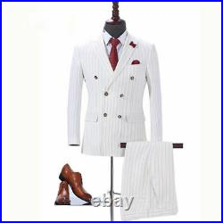 Ivory Men Double Breasted Stripe Suit Tuxedo Formal Wedding Party Prom Suit