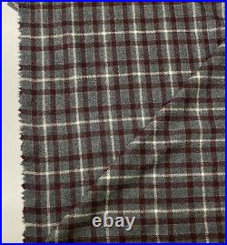 Loro Piana wool cashmere flannel grey with maroon white check suit jacket fabric