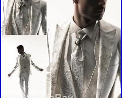 Luxury Handmade Embroidery 3pc White Groom Tuxedo Tailored Formal Suits Wedding