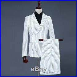 Men 3Pcs White Double Breasted Stripe Suits Groom Tux Formal Wedding Suit Custom