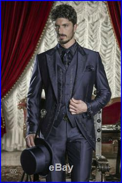 Men 3Pcs White Embroidery Silk Tailcoat Suits Groom Tuxedo Wedding Formal Suits