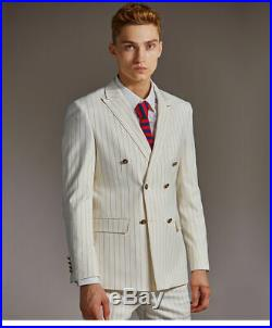 Men Ivory Double Breasted Striped Slim Fit Suit Groom Tuxedo Formal Wedding Suit