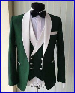 Men's 3 Piece Olive Green With White Lapel Groom Tuxedos Wedding Suit Coustom