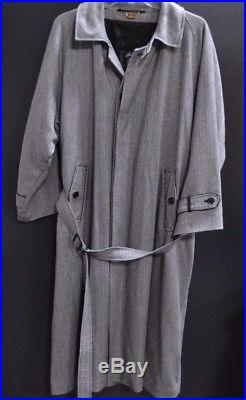 Men's Brioni 100% Cashmere Black/White Striped Long Trench Belted Jacket Size 52