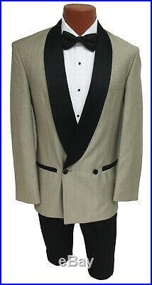 Men's Champagne Raffinati Double Breasted Tuxedo Jacket with Black Lapels 46S