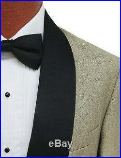 Men's Champagne Raffinati Double Breasted Tuxedo Jacket with Black Lapels 46XL