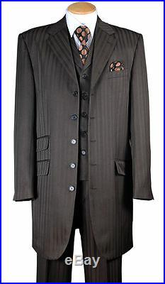 Men's Fashion Striped Zoot Suit With Vest And Pants 37 Jacket 29198V