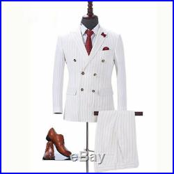Men's Ivory Double Breasted Striped Suit Tuxedos Dinner Wedding Suit Custom