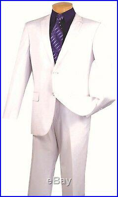 Men's Slim Fit Suit Single Breasted 2 Buttons Formal Wedding Prom White SC900-12