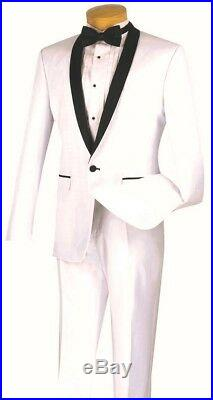 Men's Slim Fit Tuxedo Suit Single Breasted 1 Button White Prom Wedding T-SS