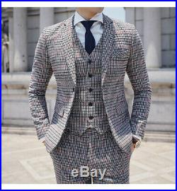 Men's Suit Tuxedos Checkered Houndstooth Formal Groom 3 Pieces Slim Fit Tailored