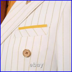 Men's White With Gold Striped Groom Tuxedos Double Breasted Formal Wedding Suit