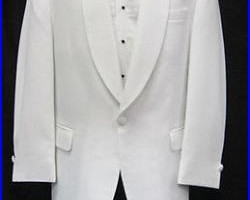 Mens Classic Solid White 1 Button Shawl Tuxedo Dinner Jacket Wedding Cruise 38L