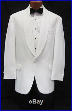 Mens Classic Solid White 1 Button Shawl Tuxedo Dinner Jacket Wedding Cruise 47R