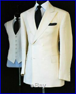 Mens Cream Cotton Linen Double Breasted Suit Groom Tuxedos Formal Wedding Suit