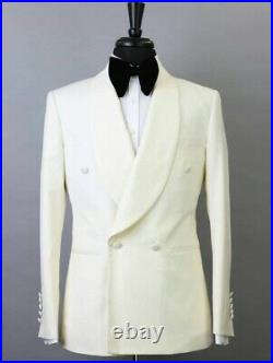Mens Groom Tuxedo Jackets One Button Double Breasted Smoking Dinner Wedding Coat