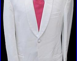 Mens White One Button Shawl Tuxedo Dinner Jacket Costume Theater Cruise 38R