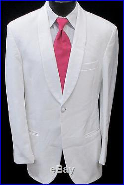 Mens White One Button Shawl Tuxedo Dinner Jacket Costume Theater Cruise 43R