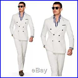 Custom NEW Off-White Double Breasted Men/'s Suits Jacket Pants 38 40 42 44 46 48