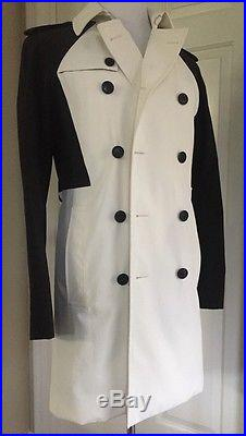 NWT $ 2700 Dior Home Mens Coat Trench Coat Black & White 34 US (44 Eur) Italy