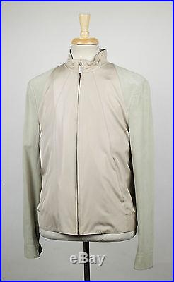 New. BRIONI Beige Silk With Leather Sleeves Bomber Jacket Size 3XL 58/48 R $3086