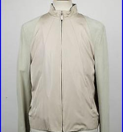 New. BRIONI Beige Silk With Leather Sleeves Bomber Jacket Size XL 54/44 R $3086