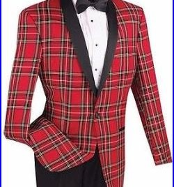 New Mens Red Christmas Plaid Tuxedo Dinner Jacket Holiday Party Sale Gift Set