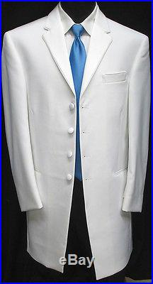 New White 4 Button Tuxedo Frock Coat Theater Halloween Costume Pimp Gangster 44L