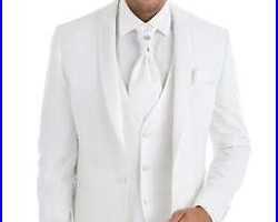 New White Groom Tuxedos Tailcoat Best Man Suits Wedding Groomsman 3 Piece Suits