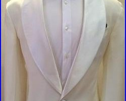 Off white Cerrutti wool tuxedo jacket with a satin Shawl lapel handmade in Italy