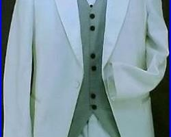 PIERRE CARDIN TEXTURED WHITE POLYESTER TUX JACKET or 4pc MENS TUXEDO PROM