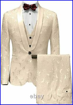 Premium Paisley Champagne Men Tuxedos Wedding Formal Party Groom 3 Piece Suits