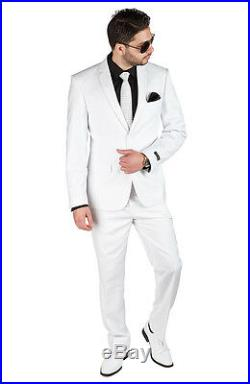Slim Fit Suit 2 Button Solid White AZAR MAN Flat Front Pants New Style With Tags
