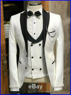 Slim Wedding Groom Formal Tuxedos Double Breasted Vest Prom Party Dinner Suit