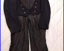 Vintage Black Wool Tuxedo with Tails and Evening Pants, White & lack Vests
