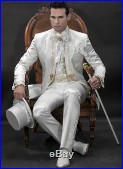 Vintage Gold Embroidery White Men's Suits Wedding Groomsmen Tuxedos Slim Fit