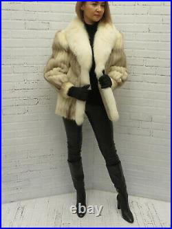 WHITE & BROWN CORDED MINK FUR JACKET with WHITE FOX FUR tuxedo shawl COAT md
