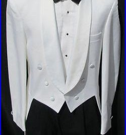 White 6 Button Tailcoat Halloween Costume Theater Dickens Dracula Victorian 38R
