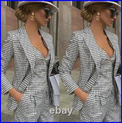 White Black Plaid Pants Suits Women Ladies Formal Evening Party Formal Tuxedos