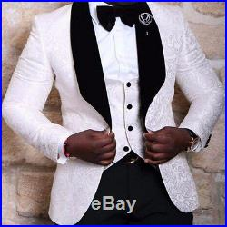 White Floral Mens Suits Wedding Groom Tuxedo Slim Fit Groomsman Prom Party Suits