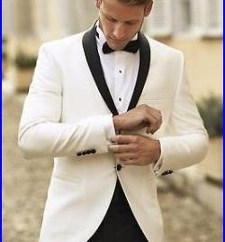 White Groom Tuxedos Bridegroom Official Two Pieces Wedding Suits for Men Formal